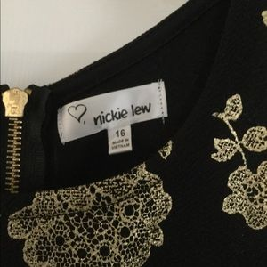 nickie lew Dresses - Nickie Lew Girls black and gold dress size 16, NWT